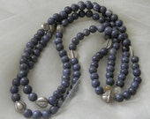 Blue coral  beads necklace w Thai Hill Trible silver beads , beaded jewelry , long strand/ multi strand necklace , jewelry , unusual silver