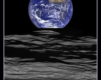 Fridge Magnet Earth straddling the limb of the Moon, space photo, outer space, astronomy interest
