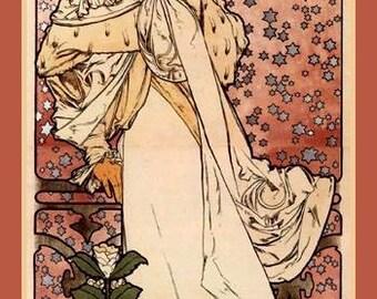 Mucha Art Nouveau Fridge Magnet Sarah Bernhardt La dame aux camelias