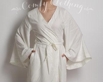 A001, Bridal Robe white super soft fabric, Kimono crossover, wedding photo prop, bridal shower, bride, bridesmaid gift, getting ready robes,
