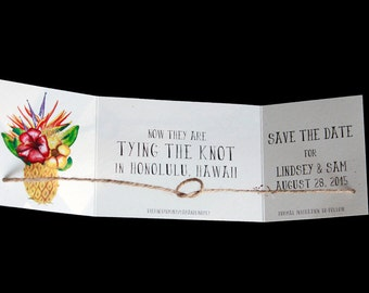 Destination wedding announcement, tying the knot save the date, Beach save the date, Tropical save the date, Knot announcement set of 30