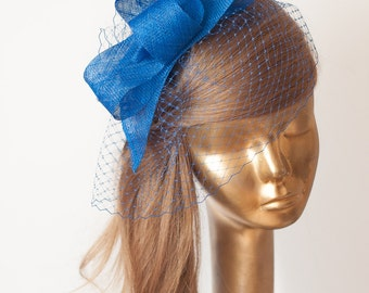 BIRDCAGE Veil Royal Blue FASCINATOR. Sinamay Bridal Fascinator with Veil