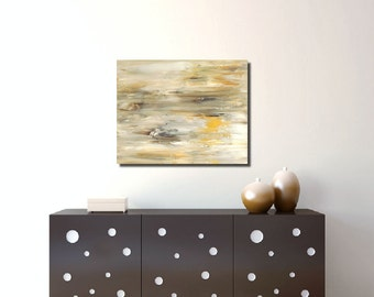 Neutral Abstract Painting 24x30 Acrylic Painting Brown White Home Decor by Nacene Prchal