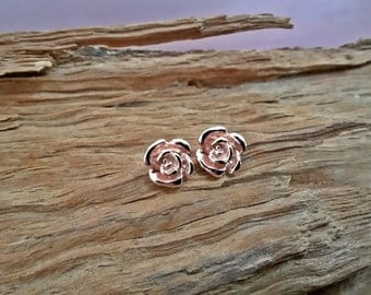 Silver rose earrings, tiny earrings