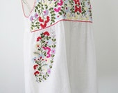 Mexican Embroidered Tank Top In White, Sleeveless Cotton Top