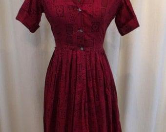 "Vintage 50s Black & Red Print Shirtwaist Dress  26"" Waist S"