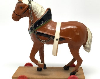 Horse Pull Toy, Miniature, Made in German Democratic Republic, 1949, Composition, Putz,