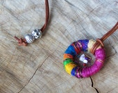 Boho Pendant - Dreamcatcher Pendant - Hippie Jewelry - Colorful Silk, Wire, Gemstones and Leather Amulet - For Young Feminine Gal to Love!!
