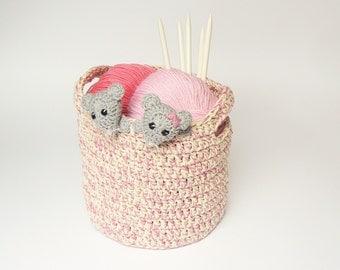 Storage Basket, Home Decor, Handmade Basket, Kids Room, Crochet Basket, Crochet storage, Nursery Storage, Basket with Handles, Toy Basket