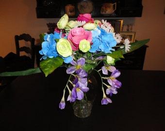 Garden Flowers in Tall Glass Vase