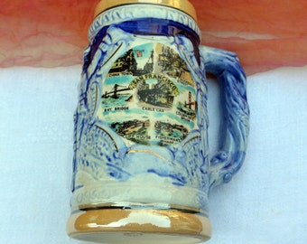 Vintage Beer Stein - San Francisco Destinations, SNCO, Porcelain Lusterware - Terrific!