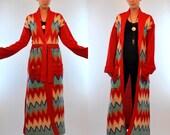 Vintage 70s Chevron Wool Knit Sweater Coat. Striped Shawl collar Avant garde Duster Jacket. Psychedelic boho Hippie cardigan. Small - Medium