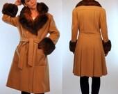 Vintage 70s Mink Fur Cuff + Collar Camel Wool Princess Trench Swing Coat. Avant Garde boho Tailored belted Dress Jacket. Small - Medium
