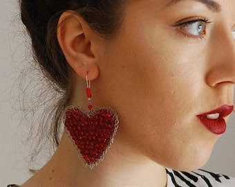 Valentines Day Red crochet Heart Drop Crystal Earrings. Girlfriend gift for her. Dazzling Party crochet Jewelry. Lovers anniversary gift.