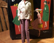 Vintage Barbie Open Road coat , striped lining, buttons and pants