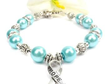 Turquoise Hope Ribbon Awareness Bracelet, Addiction Recovery, Native American Reparations, Bone Tumor