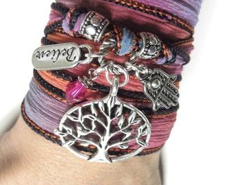 Tree of Life Wrap Silk Bracelet Yoga Bracelet Hamsa Hand Of Fatima Believe Bohemian Spiritual Bracelet Yoga Namaste Jewelry Birthday Gift