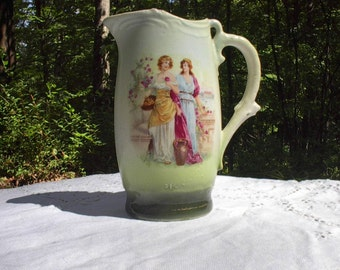 Antique  Milk Pitcher, Ladies with Flowers, Made in Czechoslovakia