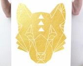 Large Gold Foil Wolf Print, Minimalist Art, Modern Nursery Artwork, Modern Minimal Woodland Animal Print, Metallic Gold Leaf Poster Print