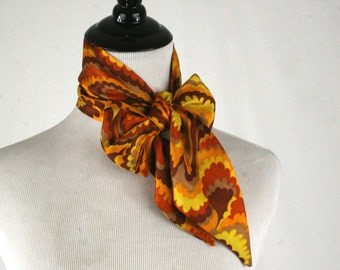 1970s Groovy Oblong Scarf Head Band Scarf Tapered Ends
