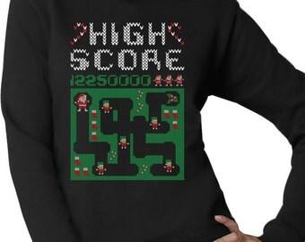 High Score Santa Arcade Video Game Women's Crewneck Sweatshirt