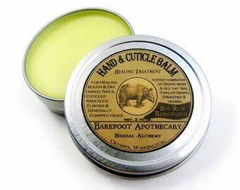 Extra Herbal Hand & Cuticle Balm, Bay Rum Rosewood. 2 oz. 29 Herb Formula, including Comfrey, Ginko, Horsetail.