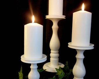 """ELEGANCE - Set of three 7""""-9""""-11"""" White Satin Lathe-turned Wooden Pillar Candle Holders - MADE in USA"""