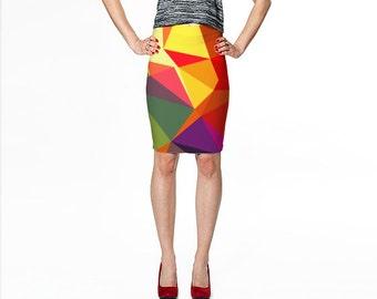 Pencil Skirt / Yellow Pencil Skirt / Printed Pencil Skirt / Geometric Print Skirt / Art Print Skirt / Fitted Pencil Skirt / Print Skirt