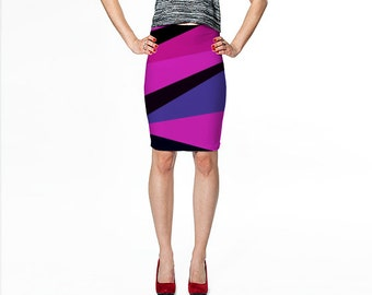Purple Print Skirt / Purple and Black Skirt / Fitted Print Skirt / Printed Pencil Skirt / Magenta Skirt / Fitted Skirt / Pencil Skirt