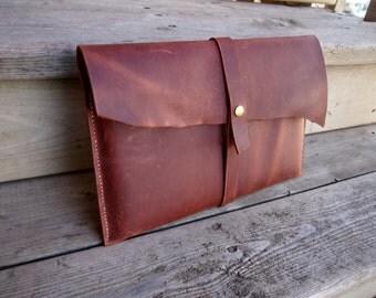 Distressed leather laptop / tablet / reader device sleeve / bag / case / ipad / macbook