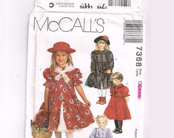 McCalls 7368 Toddler Girls Dress Pattern, Size 2 3 4, Uncut, Vintage 90s Sewing, classic style, tiered, button-down dress, petticoat, scarf