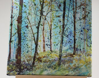 Canvas print of trees in autumn, woodland art, tree print on canvas, painting of woods, cornish art, autumn trees, acrylic ink