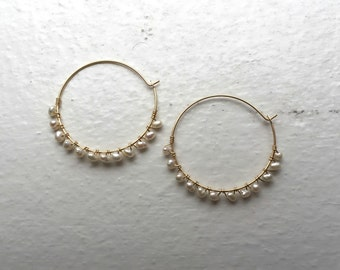 Hoop earrings with fresh water pearl  gold filled wire