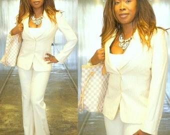 Vintage 90s Gucci Pinstriped Ivory Suit XS Jacket Pants IT 40