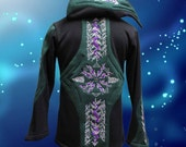 Arrow Totem, Black with Forest Green, S, Original artwork embroidered hoodie for festival, doof, psy, pixie, wizard wear.