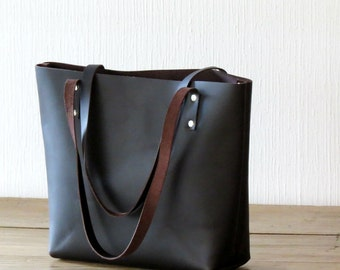 Brown Leather Tote Bag, Dark Brown Leather Shoulder Bag, Handmade Leather Bag, Leather Laptop Bag, Carryall, Leather Market Shopping Bag