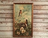 Vintage oil painting birds