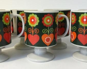 Vintage 60's 70's Footed Ceramic Mugs Set of 7 MCM