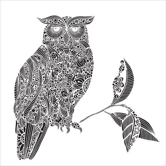 "Wise Owl 12 x12"" Stencil /  template design perfect for mixed media, scrapbooking, journaling and so much more"