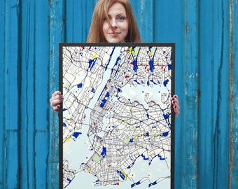 "NYC Custom Map 18x24"" - New York City Map Poster"