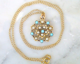 """Antique Necklace -Victorian/Edwardian Gold Filled Seed Pearl &  Turquoise Pendant Lavalier Necklace with 18"""" GF Chain"""