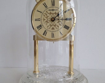 Beautiful Vintage Howard Miller Mantle Clock with Glass Dome / Made in Germany / Works and Keeps Time