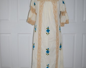 Lace and Embroidery Light Pheasant Maxi Dress / Beach Cover Up - Small to Medium