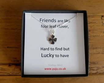 Silver Clover Necklace with Quote, Four Leaf Clover Necklace, Gift for Luck, Friend Keepsake, Friendship Gift, Friendship Keepsake