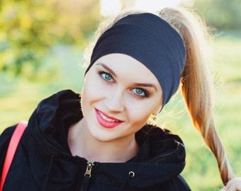 Wide Workout Headbands, Best Workout Headbands for Women, Nonslip Headband, Navy Blue Headband