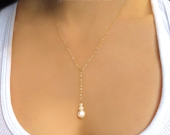 Pearl Y Necklace, Simple Pearl Necklace, Dainty Pearl Drop Necklace, Long Pearl Necklace, Bridal Pearl, Freshwater Pearl Bridesmaid Jewelry