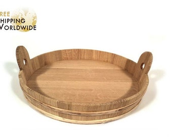 Wooden Tray / Plate LARGE size made from Oak wood - handy kitchen gadget that can be used for serving glasses and other cookware