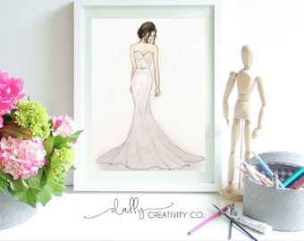 Custom Bridal Illustration, Marisa Bridal Gown Example, Custom Fashion Illustration, Personalized Fashion Painting