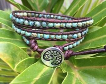Tree of Life Turquoise Triple Wrap Bracelet, Turquoise Bracelet