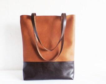 Leather tote bag, large tote bag, vegan leather tote, cognac brown tote bag, brown tote bag, school bag, book bag